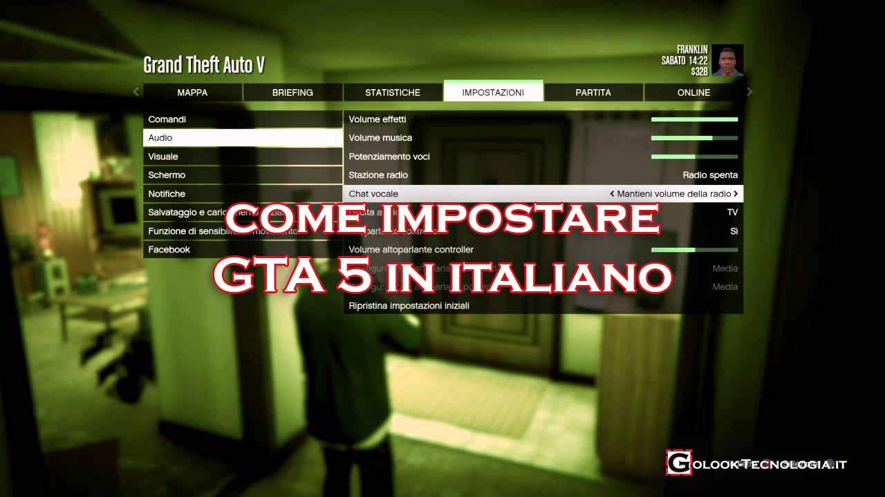 impostare lingua gta 5 italiano
