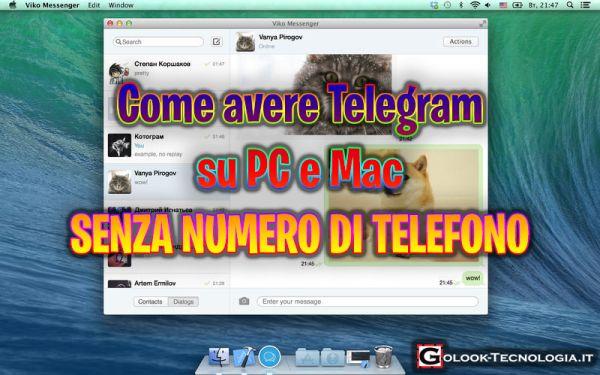 telegram pc mac senza numero